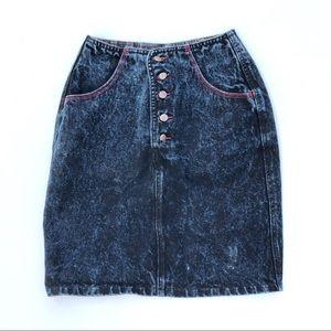 Vintage❤️80s/90s Black Denim Jean Skirt